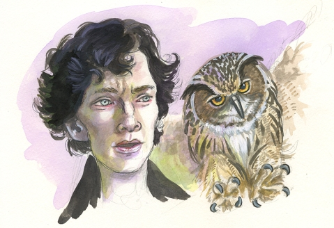 Benedict and the Eagle Owl Sketch by Christina Wald